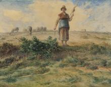Millet, Una pastorella e il suo gregge.jpg