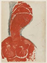 Amedeo Modigliani, Busto femminile in rosso   Nu féminin en buste   Female bust in red