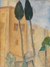 Modigliani, Cipressi e case a Cagnes.jpg