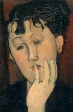 Amedeo Modigliani, Giovane donna con la mano sul mento (Marthe) [particolare]