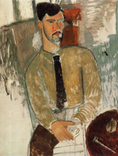 Modigliani, Henri Laurens seduto a un tavolo | Henri Laurens assis à une table | Henri Laurens seated at a table