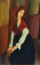 Modigliani, Jeanne Hebuterne (davanti a una porta)   Jeanne Hébuterne (devant une porte)   Jeanne Hébuterne, a door in the background