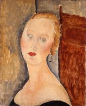 Amedeo Modigliani, La donna bionda (Ritratto di Germaine Survage)   La femme blonde (Portrait de Germaine Survage)   Germaine Survage with earrings