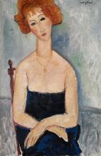Modigliani, La rossa con ciondolo   La rouge au pendentif   Red-headed woman wearing a pendant