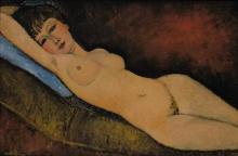 Modigliani, Nudo sdraiato con cuscino blu.jpg