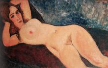 Modigliani, Nudo su un divano, braccia dietro la testa.png