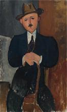 Modigliani, Uomo seduto (appoggiato a un bastone)   Homme assis (appuyé sur une canne)   Seated man (leaning on a cane)