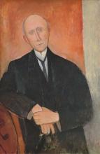 Modigliani, Uomo seduto su fondo arancione | Homme assis sur fond orange | Man sitting, orange background