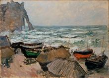 Monet, Barche da pesca sulla spiaggia di Etretat.jpg