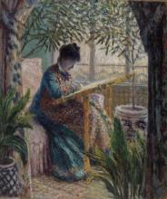 Monet, Camille al lavoro | Camille au métier | Madame Monet embroidering