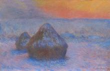 Monet, Covoni di grano (Tramonto, effetto di neve) | Meules de blé (Coucher du soleil, effet de neige) | Stacks of wheat (Sunset, snow effect)