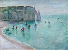 Claude Monet, Etretat e la Porte d'Aval, barche da pesca che escono dal porto | Étretat, la porte d'Aval, bateaux de pêche sortant du port