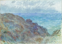 Claude Monet, La capanna sulla scogliera a Varengeville   Hytte på klipperne ved Varengeville   The hut on the cliff at Varangeville