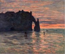 Claude Monet, Tramonto a Etretat | Coucher de soleil à Étretat | Sunset at Etretat