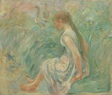 Morisot, Contadina con delle oche sul bordo dell'acqua.png