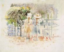 Morisot, Due bambine appoggiate alla balaustra al lago dei giardini delle Tuileries, Parigi.jpg