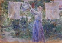 Berthe Morisot, Giovane contadina che stende il bucato ad asciugare | Bondepige, der hænger tøj til tørre | Peasant girl hanging clothes to dry