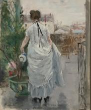 Morisot, Giovane donna che innaffia un arbusto.jpg