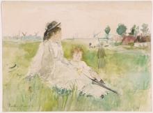 Morisot, Giovane donna e bambina nell'erba.jpg