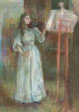 Morisot, Julie Manet che suona il violino in abiito bianco.jpg