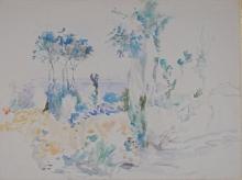Berthe Morisot, Paesaggio con grandi alberi e vista sul mare | Landscape with tall trees and a view of the sea