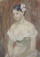 Morisot, Ragazza in abito scollato, il fiore tra i capelli.png
