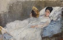 Morisot, Signora con ventaglio. Ritratto di Marie Hubbard | Dame med vifte. Portræt af Marie Hubbard | Dame au éventail. Portrait de Marie Hubbard | Lady with a fan. Portrait of Marie Hubbard