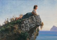 Filippo Palizzi, La fanciulla sulla roccia a Sorrento