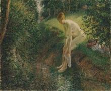 Pissarro Camille, Bagnante nel bosco | Baigneuse dans le bois | Bather in the woods