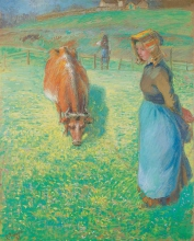 Pissarro, Contadina che bada a una vacca, Osny | Paysanne gardant une vache, Osny | Peasant girl looking after a cow, Osny