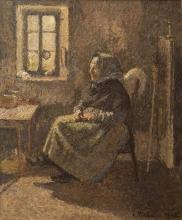 Pissarro Camille, Contadina seduta. Interno a Moret | Paysanne assise. Intérieur à Moret | Peasant woman sitting. Interior in Moret