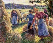 Pissarro Camille, Contadini che raccolgono il fieno, sera, Eragny   Faneurs, le soir, Eragny   Haymakers, evening, Eragny