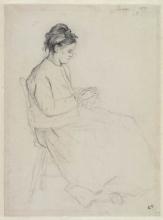 Pissarro Camille, Donna seduta con lavoro a maglia | Femme assise avec le tricot | Sitting woman with knitting