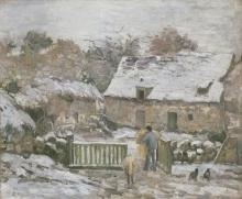 Camille Pissarro, Fattoria a Montfoucault, effetto di neve   Farm at Montfoucault: snow effect