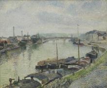 Pissarro Camille, Il Ponte di Pietra e chiatte a Rouen.jpg