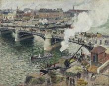 Pissarro Camille, Il ponte Boieldieu, tempo umido | Le pont Boieldieu à Rouen, temps mouillé | Pont Boieldieu in Rouen, rainy weather