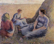 Pissarro Camille, Il riposo delle raccoglitrici di fieno.jpg