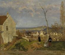 Camille Pissarro, Louveciennes con il Mont Valerien sullo sfondo | Louveciennes avec le Mont Valérien en arrière-plan | Louveciennes mit dem Mont Valérien im Hintergrund