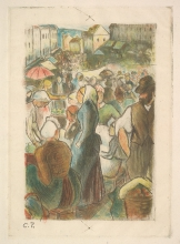 Pissarro Camille, Mercato di Gisors (Rue Cappeville) | Marché de Gisors (Rue Cappeville) | The market at Gisors: Rue Cappeville
