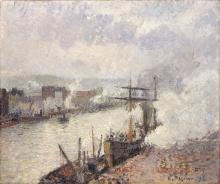 Pissarro Camille, Navi a vapore nel porto di Rouen.jpg