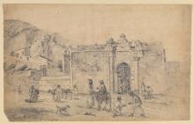 Pissarro Camille, Vita di strada fuori la porta di una città | Vie de rue devant la porte d'une ville | Street life outside a city gate