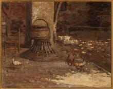 Gaetano Previati (attribuito a), Cortile rustico | Rustic courtyard