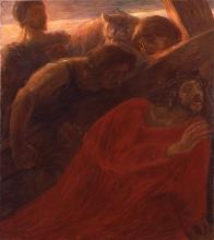 Gaetano Previati, Via Crucis, III stazione: Cade la prima volta