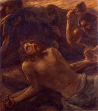 Gaetano Previati, Via Crucis, XI stazione: Gesù inchiodato