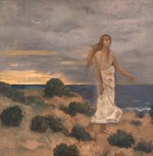 Pierre Puvis de Chavannes, Donna in riva al mare   Woman on the beach