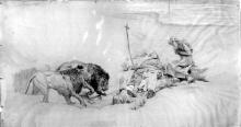 Giovanni Battista Quadrone, I leoni e Sant'Antonio al seppellimento dell'eremita San Paolo (Vite dei Santi Padri nel deserto)