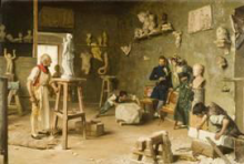 Giovanni Battista Quadrone, Nello studio dello scultore