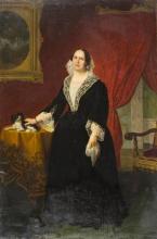 Giovanni Battista Quadrone, Ritratto di nobildonna in interno con cane