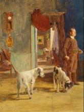 Giovanni Battista Quadrone, Studio d'interno con cacciatore e cane