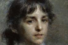Daniele Ranzoni, Ritratto di Antonietta Tzikos di Saint Leger [dettaglio del volto]